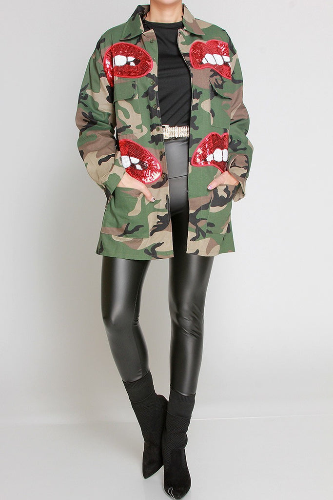 Camo Sequins Lips Jacket
