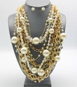 Pearl & Gold Necklace Set