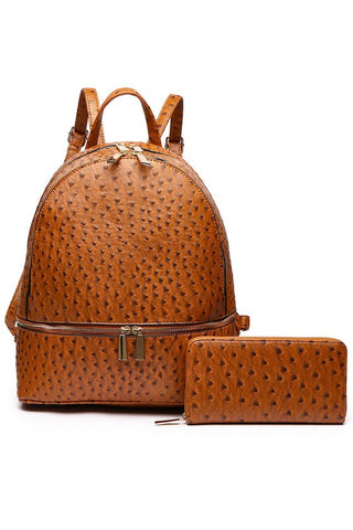 Ostrich Backpack & Wallet Set