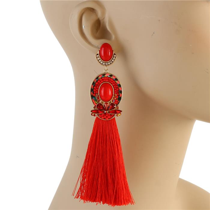 Godiva Tassel Earrings (Red)