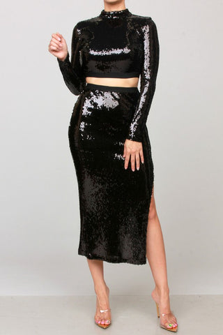 Get Me Bodied Sequins Set (Black)