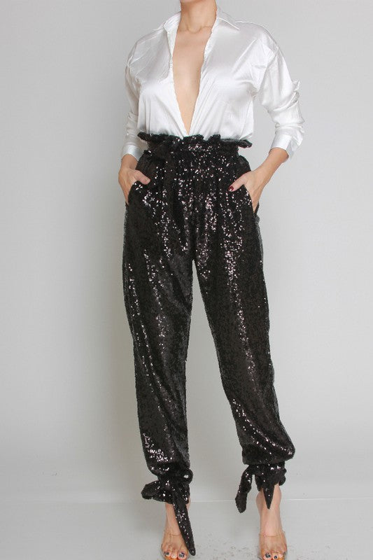 Sequins High Waist Pants