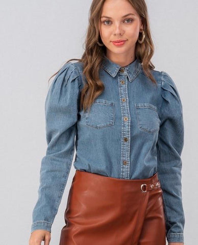 Denim Puff Blouse