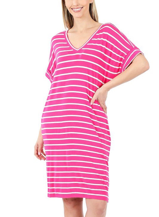 Running Errands Stripe Dress - Fuchsia