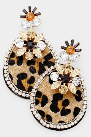 Pave Teardrop Earrings (Leopard)