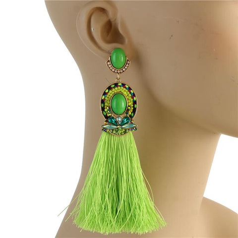 Godiva Tassel Earrings (Green)