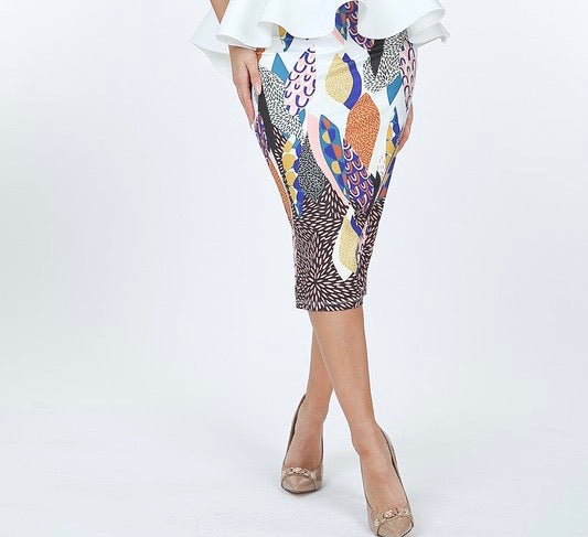 Abstract High Waist Pencil Skirt