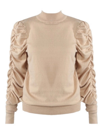 Ava Ruched Top (Beige)