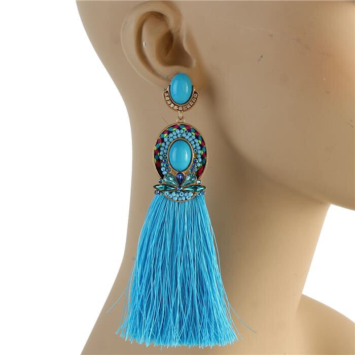 Godiva Tassel Earrings (Aqua)