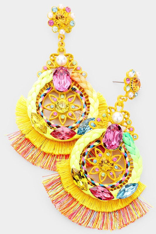 Tassel Fringe Earrings (Yellow)