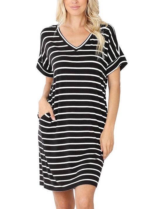 Running Errands Stripe Dress - Black