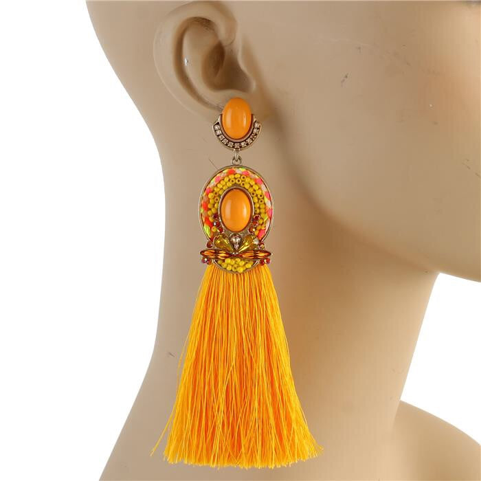 Godiva Tassel Earrings (Orange Multi)