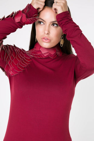 Reptile Sleeve Top (Cranberry)