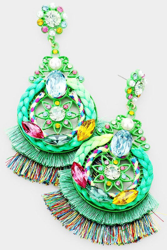 Tassel Fringe Earrings (Green)