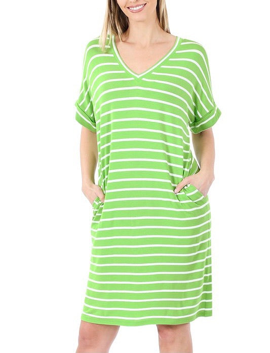 Running Errands Stripe Dress - Lime Green