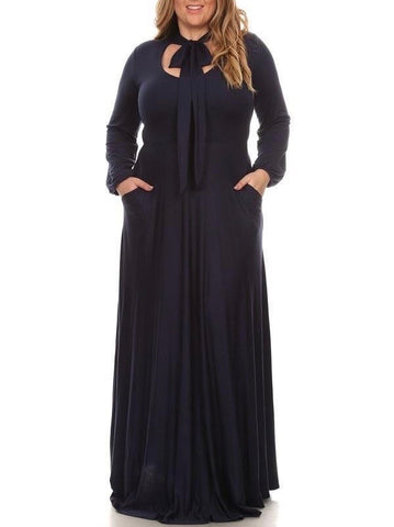 Bow Maxi Dress (Navy)