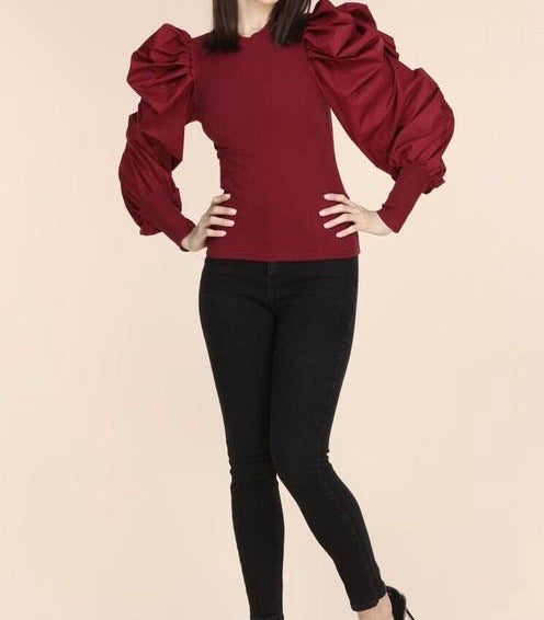 Erika Puff Top (Cranberry)