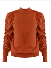 Ava Ruched Top (Rust)