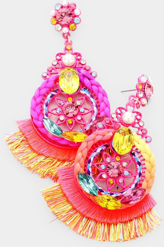 Tassel Fringe Earrings (Fuchsia)