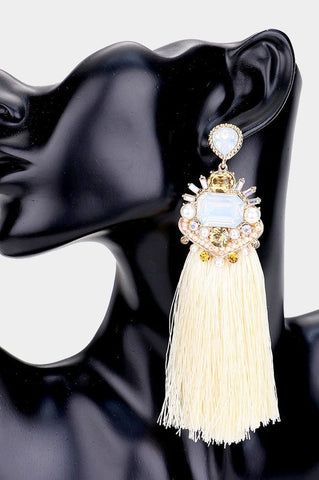 Crystal Pearl Tassel Earrings (Cream)