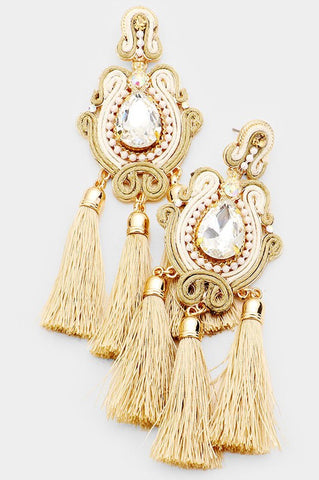 Crystal Triple Tassel Earrings (Gold)