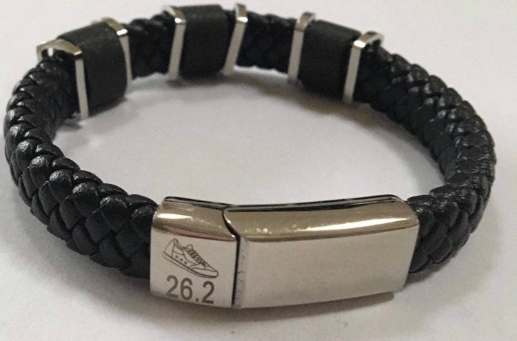 Chunky Leather & Stainless Steel Marathon Bracelet. Was £30.00, now £5.00 !   JUST ONE LEFT !
