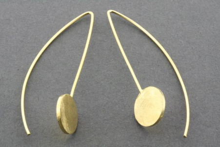 Long drop scratched disc earring - gold plated