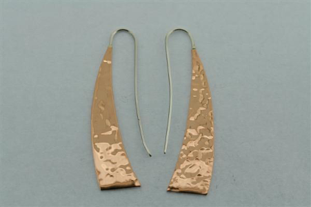 Battered copper machette earring