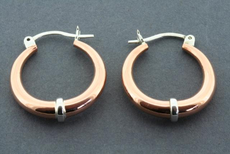 Copper tubular hoop with silver band