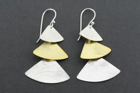 Gold plated & silver 3 triangle drop earrings