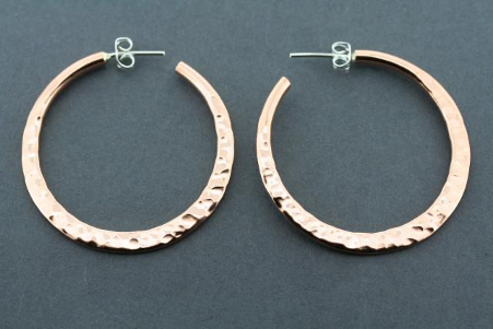Flattened battered hoop - Large copper