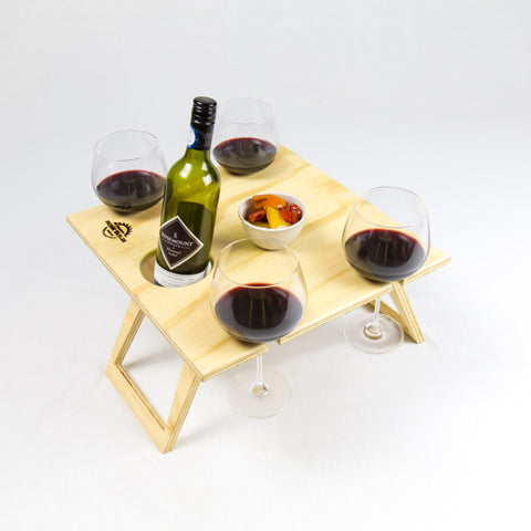 Square Natural Portable Wine Table