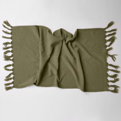 Vintage Wash Cotton Hand Towel - Olive