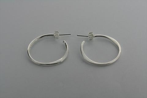 Small flattened hoop earring