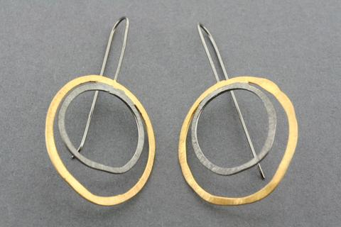 Double organic circle earring xo & gold plated