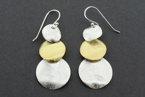 Gold plated & silver 3 circle drop earrings