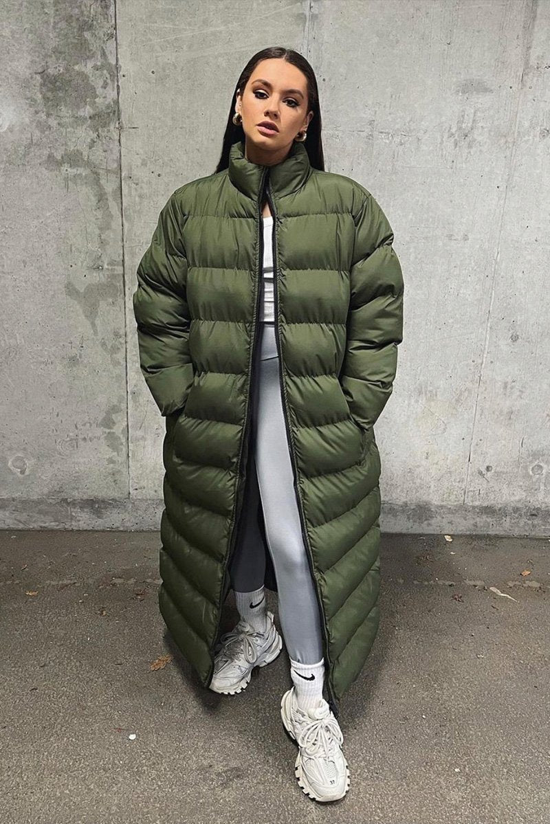 KHAKI PLUS SIZE LONGLINE OVERSIZED PADDED COAT
