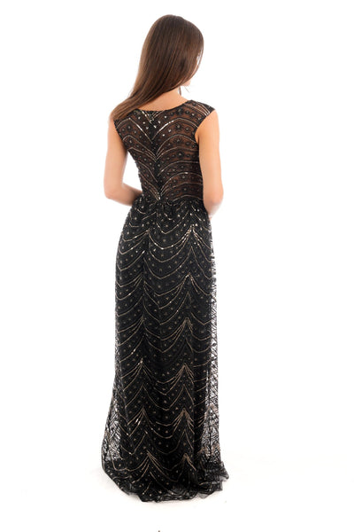 Sequin Embellished Maxi Dress - D03B