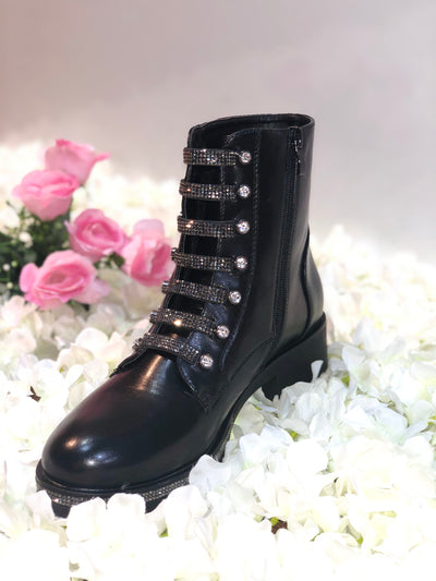 BLACK DIAMANTE LEATHER LOOK ANKLE BOOT