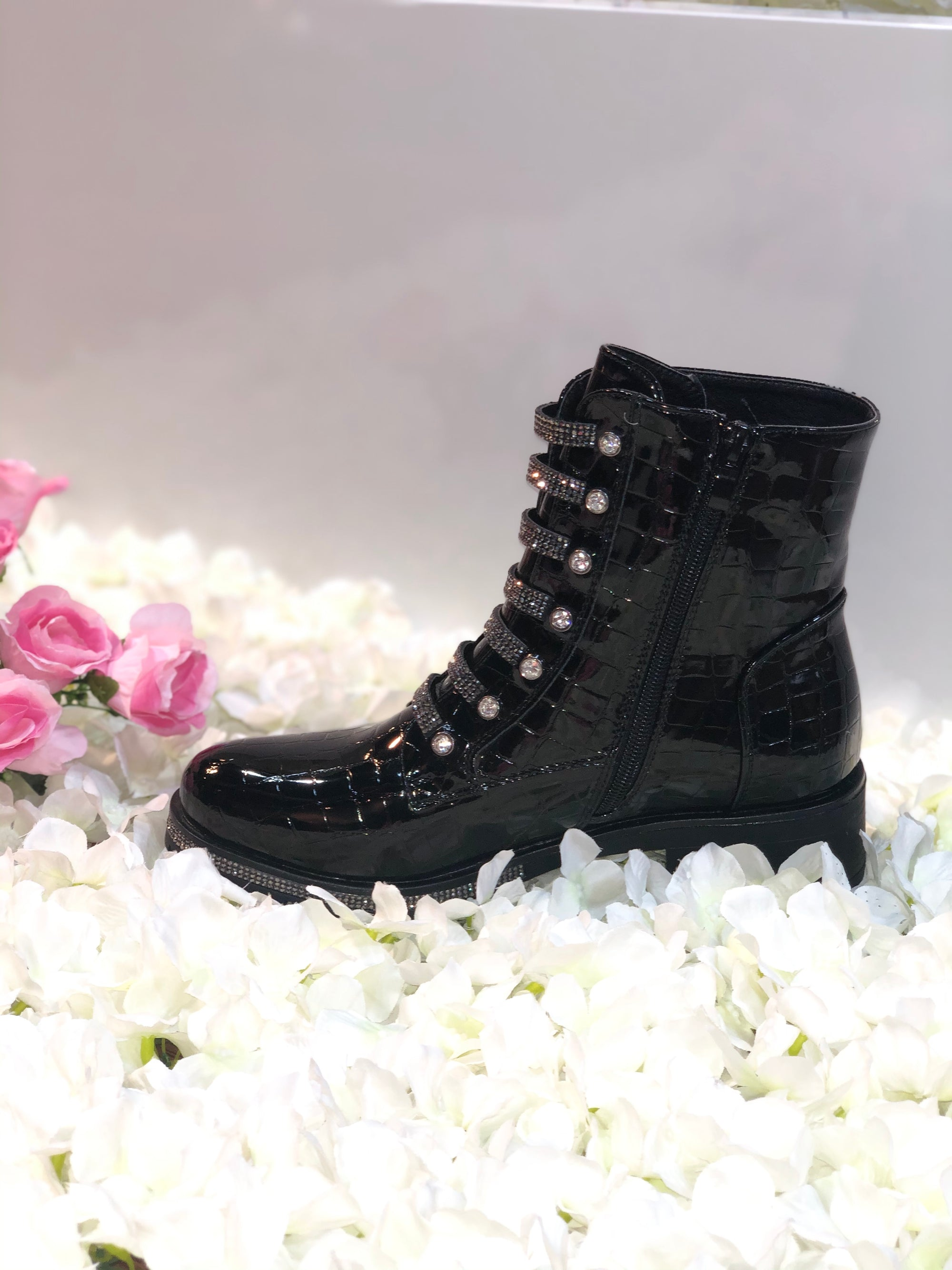 BLACK DIAMANTE PATENT CROC ANKLE BOOT