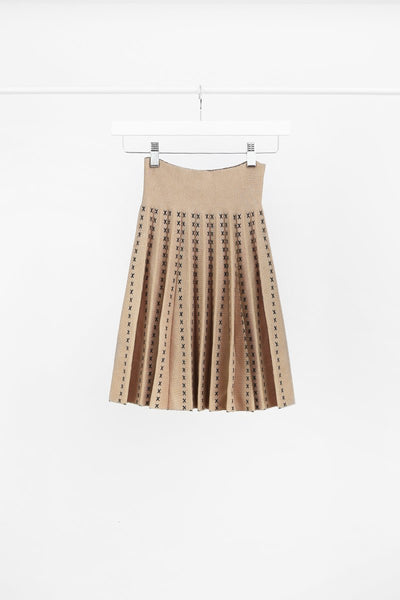 CAMEL CONTRAST STITCH KNITTED PLEATED SKIRT