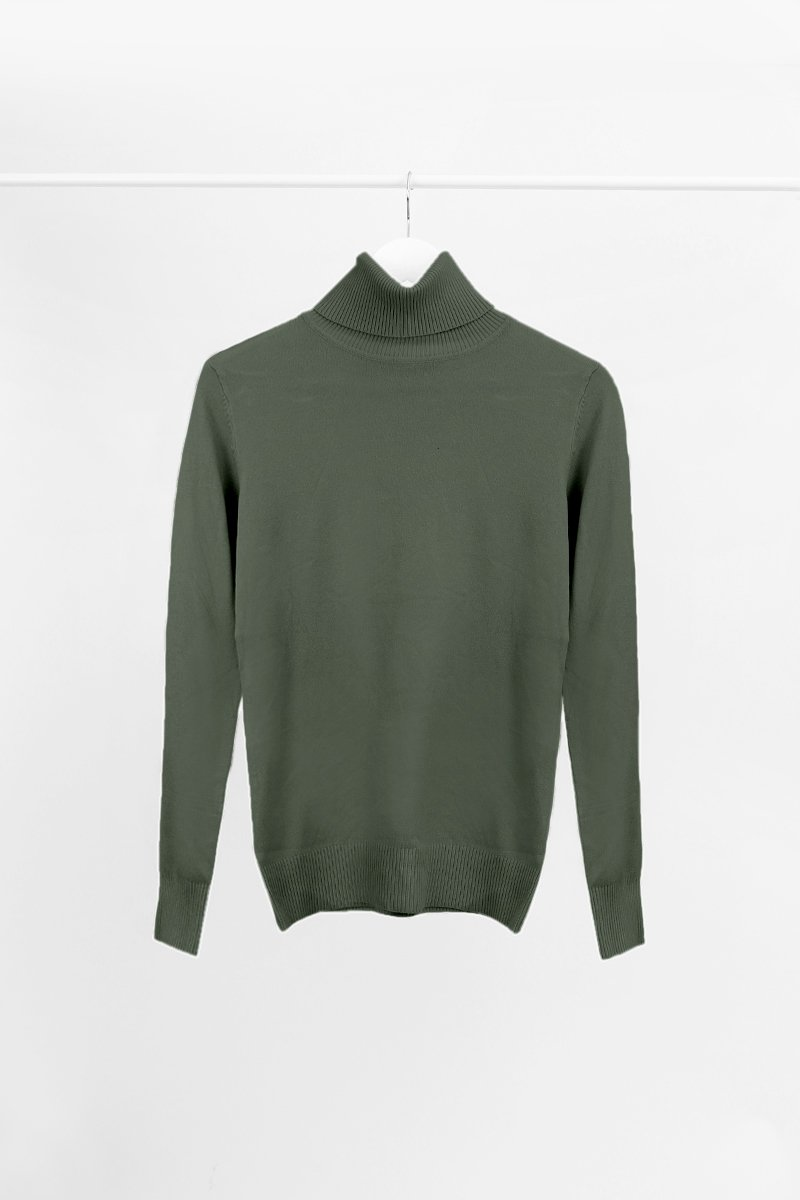 KHAKI CASHMERE ROLL NECK KNIT