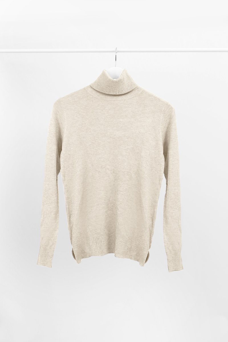 STONE CASHMERE ROLL NECK KNIT