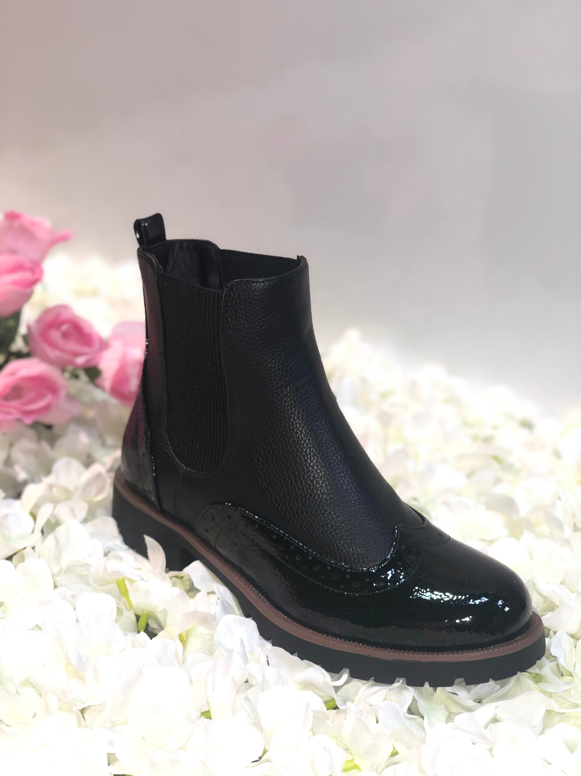 BLACK NAPPA & PATENT BROGUE STYLE FAUX LEATHER CHELSEA BOOT