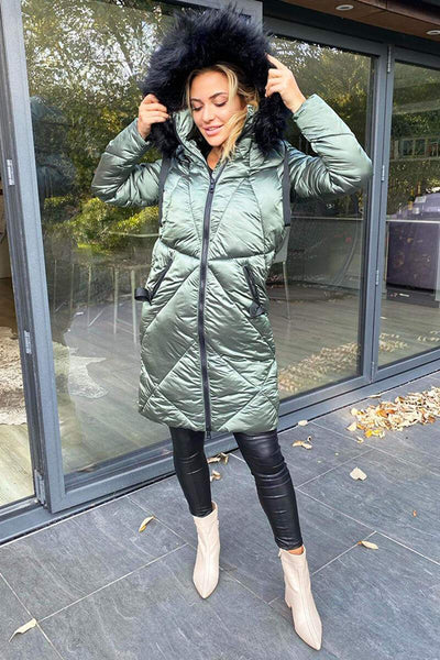 KHAKI HIGH SHINE PADDED JACKET
