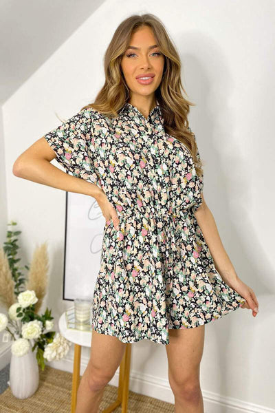 AX PARIS BLACK FLORAL PLAYSUIT