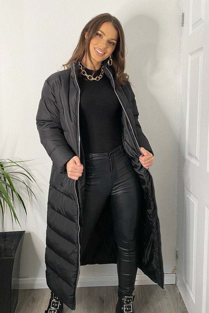 BLACK PLUS SIZE LONGLINE OVERSIZED PADDED COAT