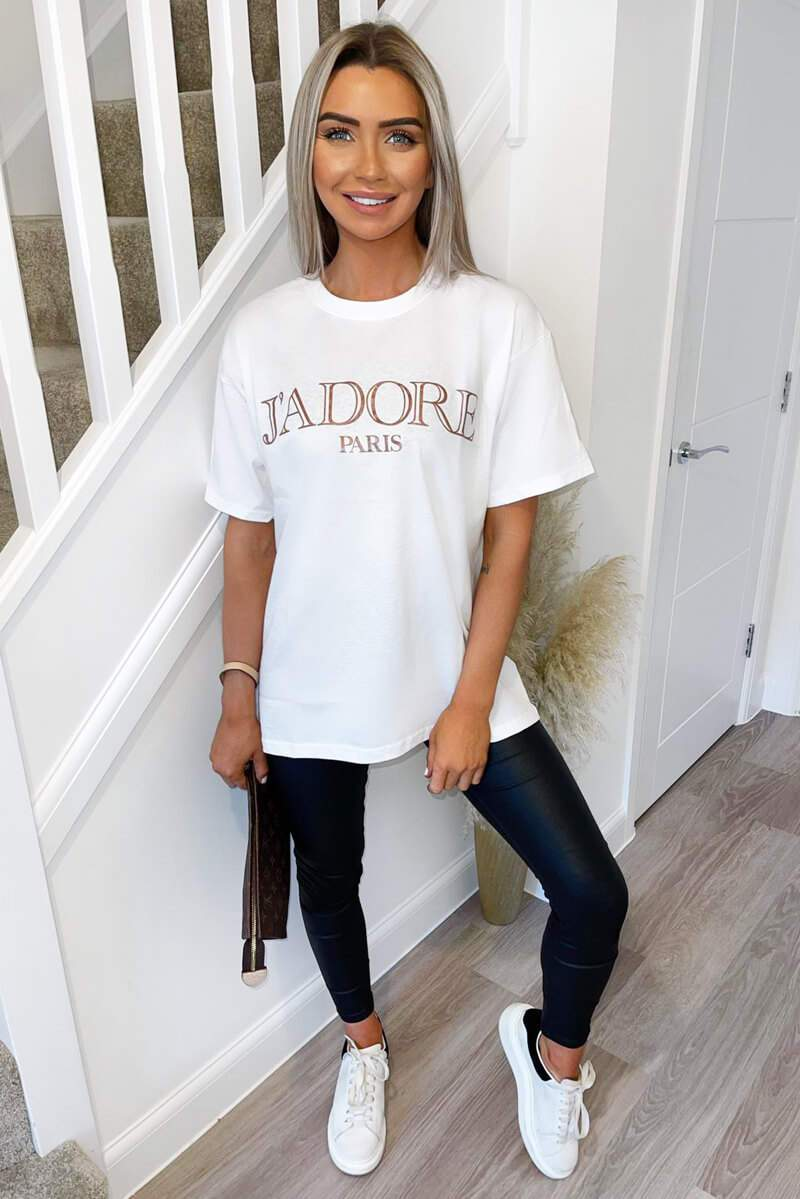 AX PARIS WHITE J'ADORE OVERSIZED PRINTED TEE