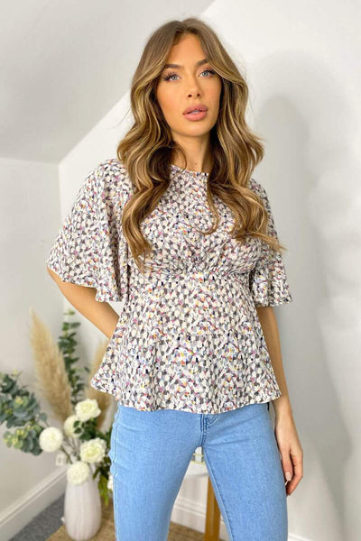 AX PARIS GREY MULTI ABSTRACT FLARED BLOUSE