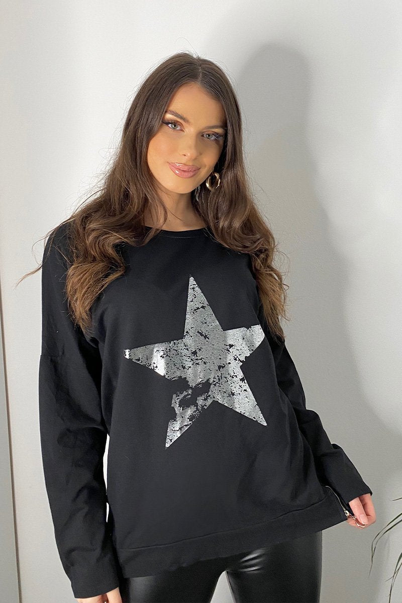 BLACK OVERSIZED METALLIC STAR TOP